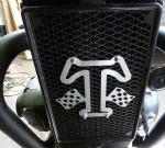 Thruxton, Bonneville T120, Street Twin: Water Cooler Decal. Brushed Alloy 'T Logo' Union Flag: 2016on